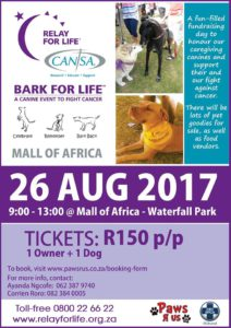 CANSA Bark for Life Walk with Paws R Us (SA) and Midrand SPCA @ Mall of Africa - Waterfall Park | Midrand | Gauteng | South Africa