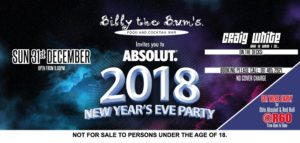 Absolut 2018 New Years Eve Party @ Billy the B.U.M's Johannesburg | Sandton | Gauteng | South Africa