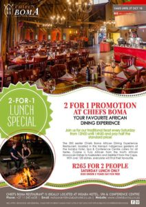 2-for-1 Promotion for Saturday Lunch 2 Chiefs Boma @ Chiefs Boma | Johannesburg | South Africa