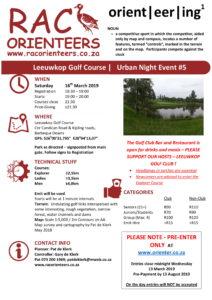 Orienteering Urban Series #5 (Night Event) @ Leeuwkop Golf Course   Midrand   Gauteng   South Africa