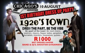 Chicago's 1st birthday - 1920's Town adult dress up evening. Live band  & DJ's @ Chicago's Fourways | Sandton | Gauteng | South Africa